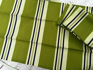 Decorative towel featuring green, white and green stripes. (TWL-011)