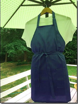 Chef's apron featuring blue pinstripe design. (APR-008)