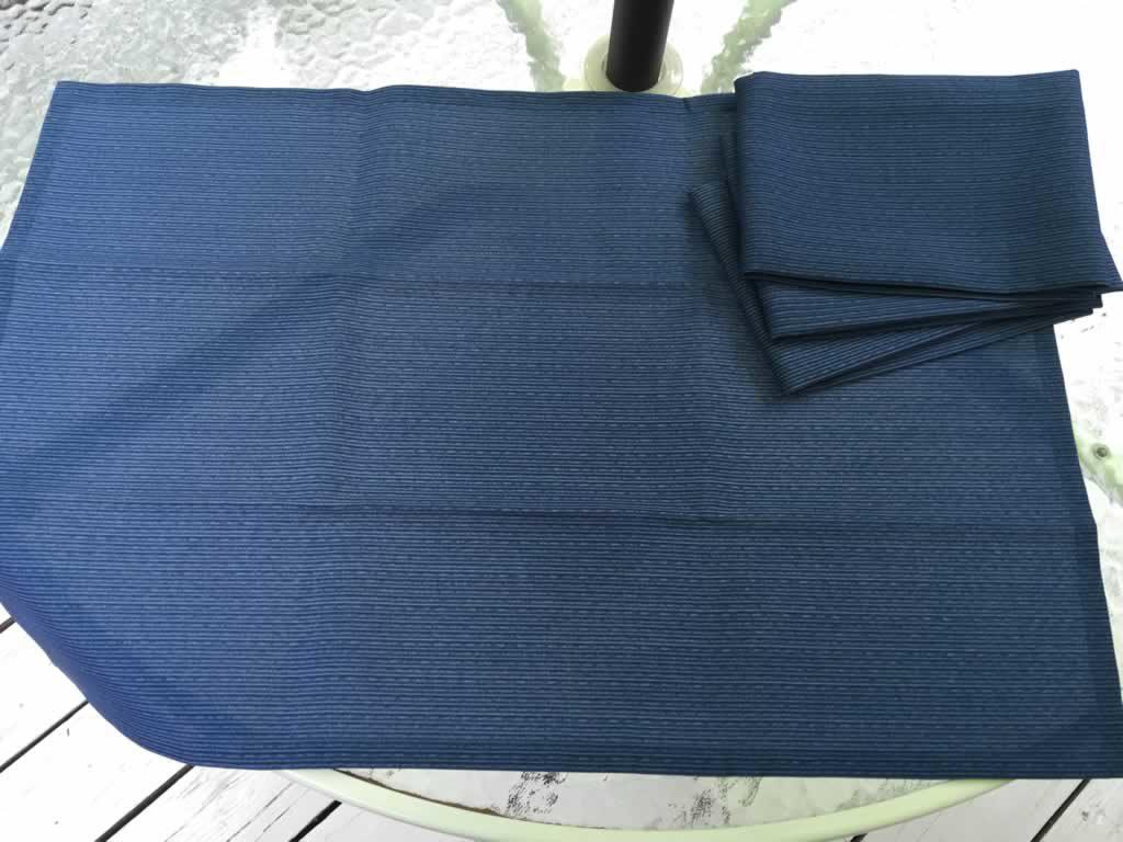 Decorative towel featuring blue pinstripe design. (TWL-008)