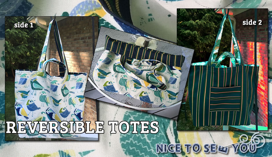 Handmade reversible tote bags by Nice to Sew You!