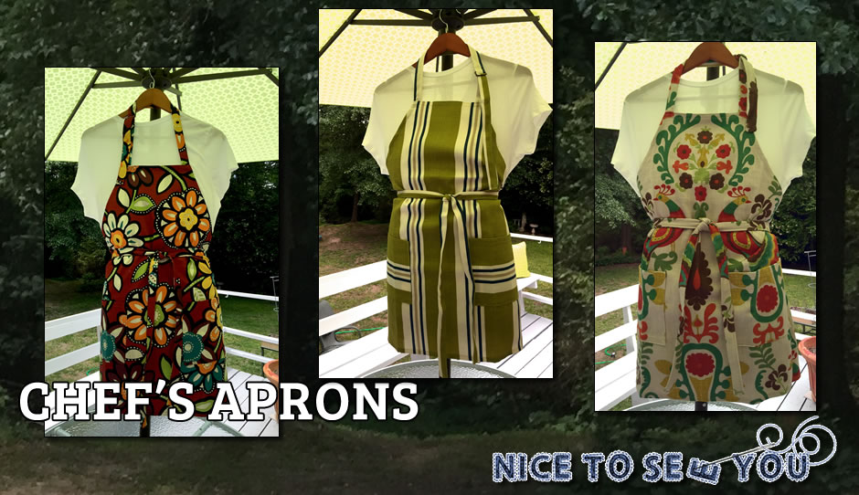 Handmade chef's aprons by Nice To Sew You!