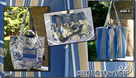Reversible Tote Bag Featuring Blue and Gold Paisley and Striped Fabrics