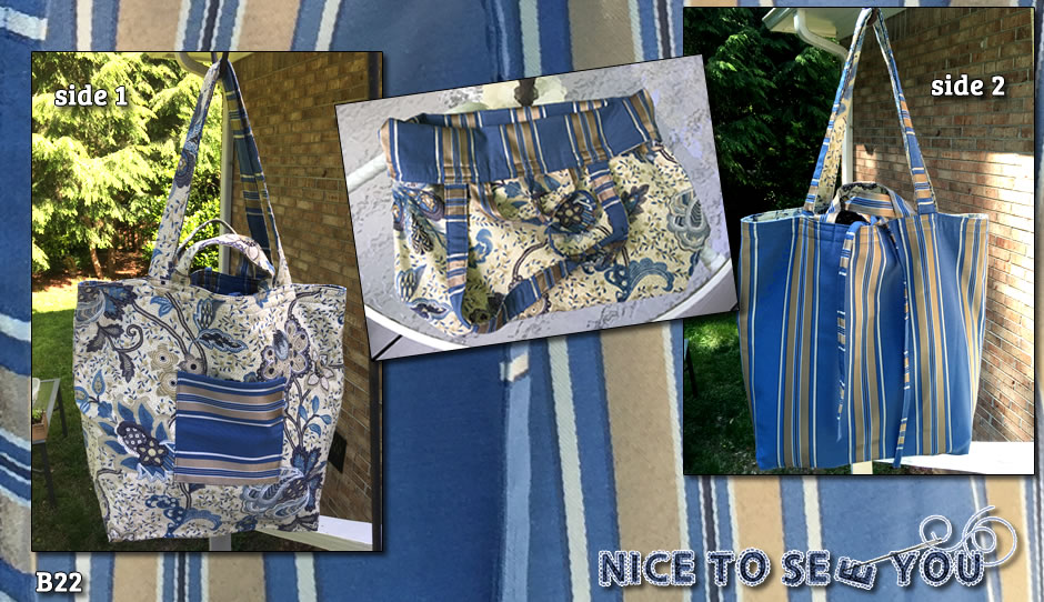 Reversible Tote Bag Featuring Paisley and Striped Designs in Blue and Gold.