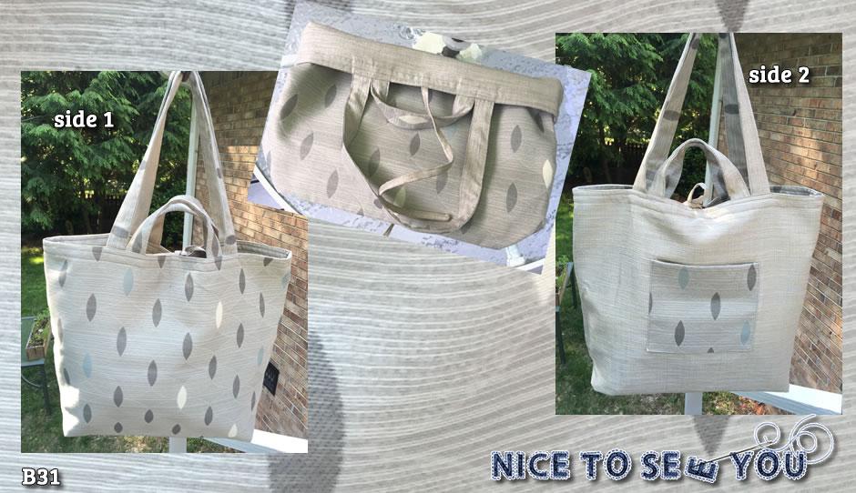 B31) Reversible tote bag featuring gray tones drop pattern tapestry and tweed fabrics.