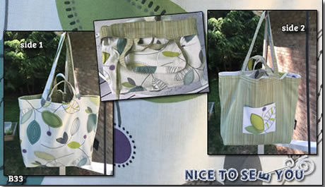 Reversible tote bag featuring green tones contempo leaves and tramado fabrics.