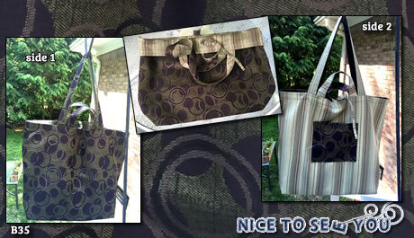 Reversible tote bag featuring purple and green circles tapestry and striped fabrics.