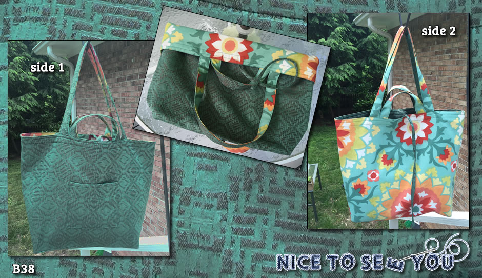 Reversible tote bag featuring teal green weaved tapestry and teal/orange bold flowers fabrics.