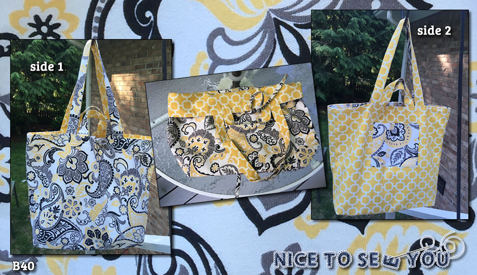 Reversible tote bag featuring yellow tones paisley and link design fabrics.