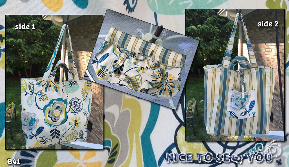 Reversible tote bag featuring teal blue tones bold flowers and striped fabrics.